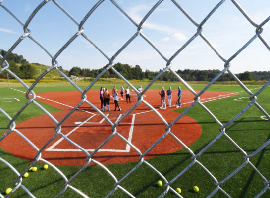softball through fence